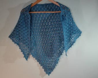triangle crochet shawl, sky blue crochet wrap, large crochet scarf