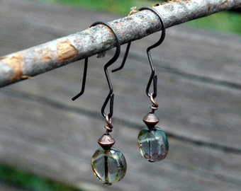 Small Beaded Earrings, Glass Bead of Seaglass Green with White and Gold, Simple Design, Copper Accents, Casual Style, Earrings Under 20