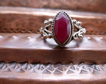 Ruby Sterling Silver Ring ~ 925~ solitaire handcrafted