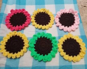 Flower coasters handmade coasters crochet coasters crochet flower pink flower yellow flower green flower sunflower coasters flower gift
