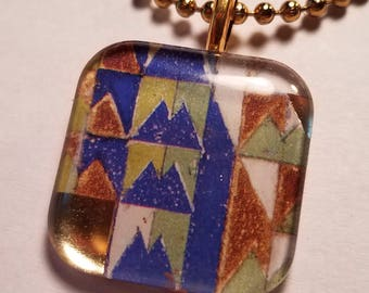 Frank Lloyd Wright Mural #6 - glass pendant and chain