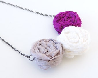 Silk Rosettes Necklace -- Pink, White and Grey -- Sewn Fabric Pendant -- Gunmetal Black Chain -- UK Shop