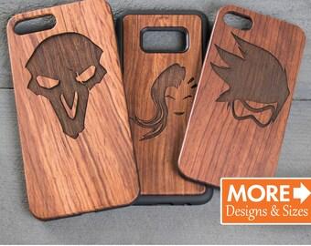 Overwatch, Wood iPhone 7 Case, Pharah, Mercy, Samsung Wood Case, Ana, Dva, Mei, Sombra, Symmetra, Tracer, Widowmaker, Zarya, Reaper