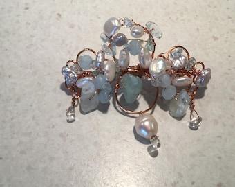 Freshwater Pearl, Aquamarine, Beryl, Crystal Quartz gemstone barrette hair clip for a Princess!