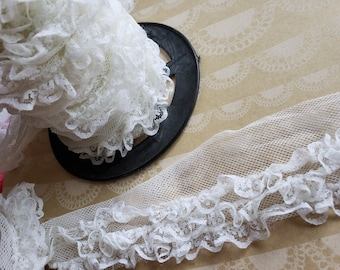 "Triple Layer White Ruffle Lace - Netting - 1 3/4"" Wide - 7 Yards - LAST OF SPOOL"