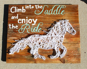 Climb into the Saddle string art pallet l horse string art, pallet sign, horse pallet, horse art, string art