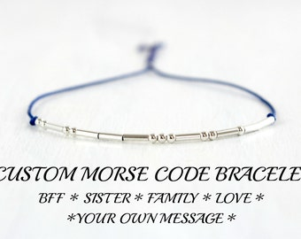 Custom Morse Code Bracelet Minimalist Best Friend Inspirational Jewelry Friendship Family Sterling Silver Silk Cord Bracelet