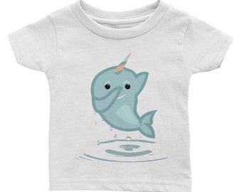 Dabbing Narwhal - Narwhal Shirt - Cute Narwhal Gift - Birthday Gift - One Year Old Gift - Kid Gift Shirt - Infant Tee