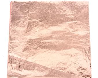 """Genuine Copper Leaf - Metal Sheets 5.5"""" x 5.5"""" Foil Crafts (100 sheets included) Rose Gold Bronze Pink Blush"""