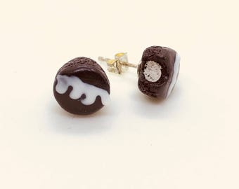 Devil's Food Chocolate Cream Filled Cake Earrings