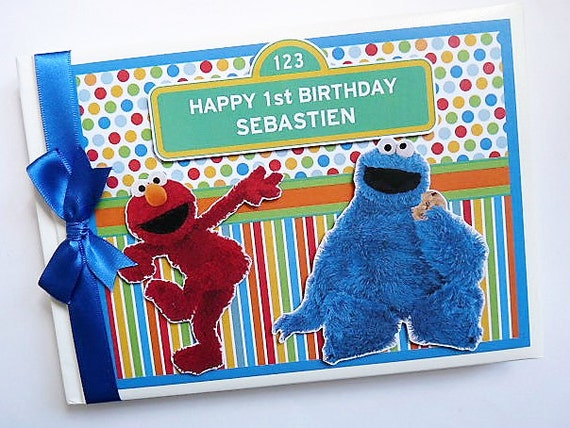 Sesame Street Elmo And Cookie Monster Birthday Guest Book