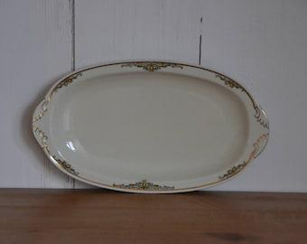 Porcelain serving dish, oval, of Zeh Scherzer, gold decorated