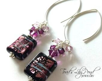 Purple Drop Earrings | Purple Earrings for Women | Gift for Her Purple | Favorite Color Purple | Purple Murano Glass Earrings | Fancy