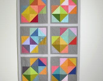 Modern Quilt, Multicolored Bedding, Geometric Lap Quilt, Geometric, Modern Lap Quilt