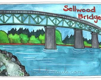 Postcards - Portland Postcards - Portland Oregon Illustration - Illustrated Cards - Sellwood Bridge Card - Old Sellwood Bridge