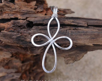 Large Cross Necklace. Aluminum Wire. Celtic. Wire Jewelry.