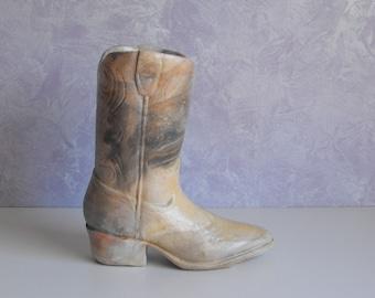 Vintage Carved Stoneware Cowboy Boot Planter/Vase/Doorstop