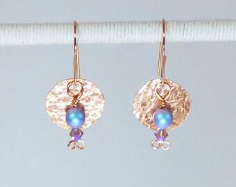 Copper earrings, Wedding, Bridal earrings, Pretty earrings, Sequin earrings, Under 35