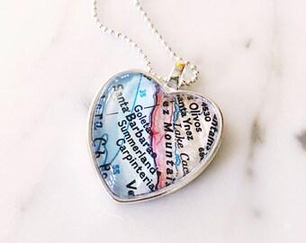 Santa Barbara Map Heart Necklace