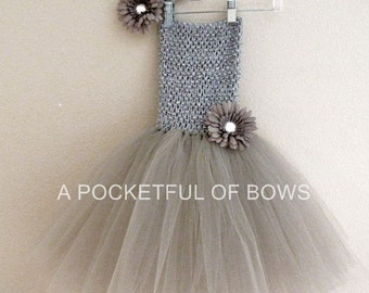Silver Tutu Dress, Toddler Silver Tutu Dress, Gray Birthday Tutu Dress