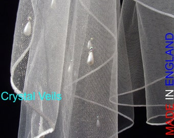 WEDDING VEIL - Pearl drop and diamante waterfall veil on sparkle tulle.
