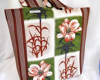 Retro Lily Shopper / Tote Bag - vintage 50s Barkcloth fabric