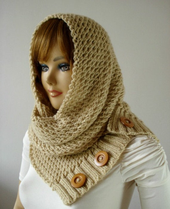 Knitting Pattern Hooded Cowl Scarf Loulou Hood Scarf Cowl Hooded