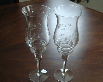 Princess House HERITAGE Hurricane 2-Piece Candlestick Holder- 2 available!