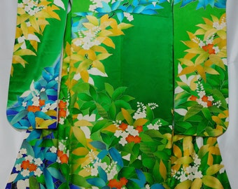 Tropical flowers on Japanese Kimono (Furisode)