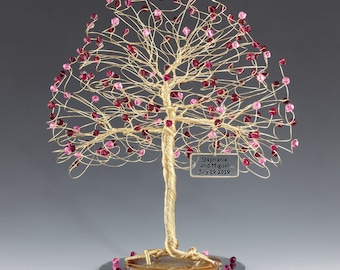 Tree Cake Topper Pink Red Personalized Wedding Cake Topper Silver Gold Copper Tone Wire Swarovski Crystal Elements Rose Ruby Siam