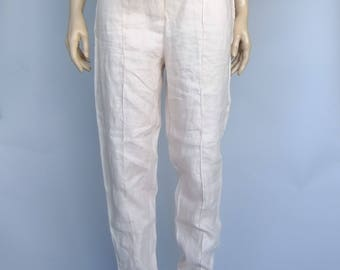High Waist Pants Pale Pink Linen Tappered Cigarette Pants Trousers Benetton