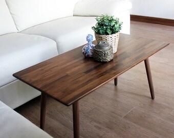 Classic Walnut Coffee Table   Modern Wood Furniture Mid Century Eames Style  Hardwood Design