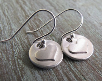 Valentine's Day Gift, Sterling Silver Heart Earrings