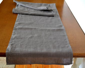 Gray linen table runner with embroidery table runner natural linen table runner holiday table runner linen runner thanksgiving tabler runner