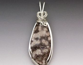 Luna Druzy Agate Sterling Silver Wire Wrapped Pendant - Ready to Ship!