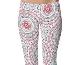 Gypsy Leggings, Festival Tights, Turquoise Blue and Red Mandala Print Leggings, Gypsy Boho Yoga Pants