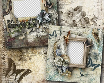 Digital Scrapbook Quick Page, 12x12 , Vintage Scrapbook Layout, Premade Scrapbook Page, Shabby Chic Style Scrapbooking Quick Pages