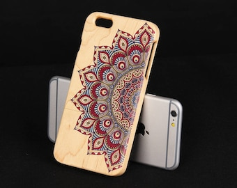 Mandala iPhone 6 plus case Maple Wood iPhone 6P wood cover - NW6P001