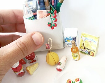 Dollhouse miniature Italian grocery products / 1:12 dollhouse miniature Italian food / Italian products dollhouse / miniatures Italy