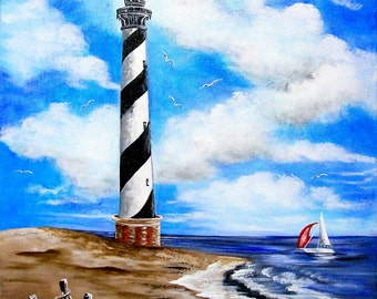 MADE TO ORDER  Cape Hatteras Lighthouse on 16 x 20 Canvas Acrylic Original Painting