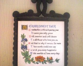 Sammyro Black Iron Trivet with Grandmother Poem on Tile