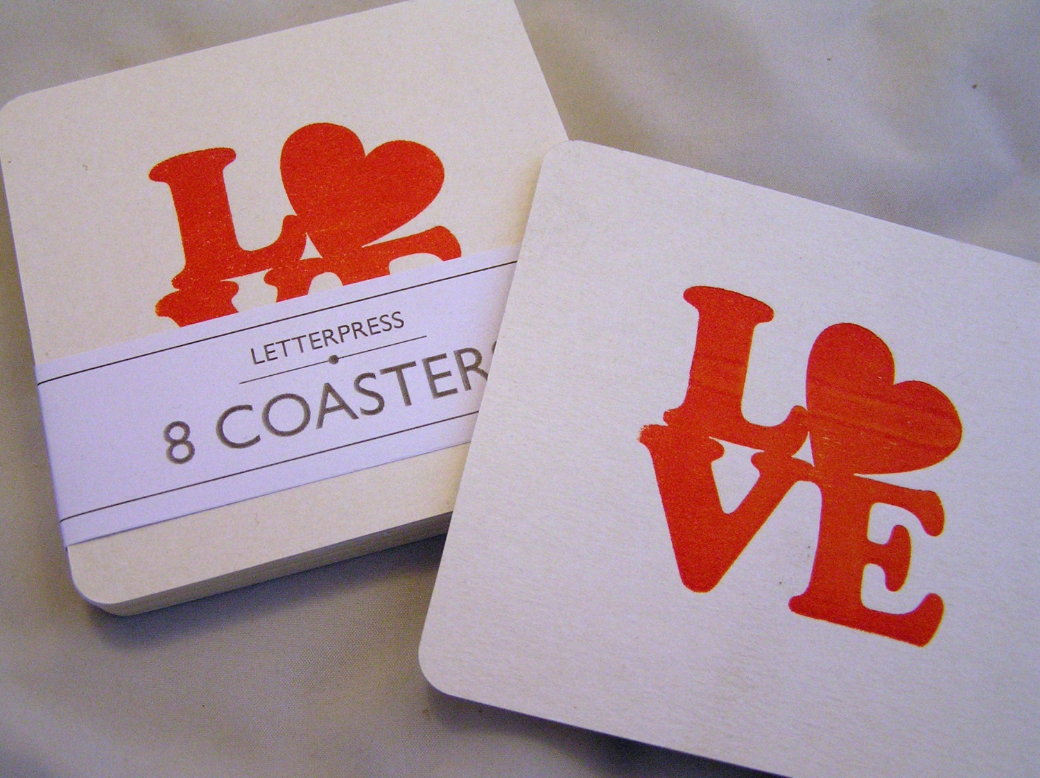 Letterpress coasters retro 1960s LOVE party wedding pack of 8