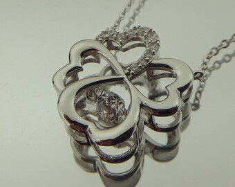 Sterling Silver Flower Necklace with Clear Diamonique