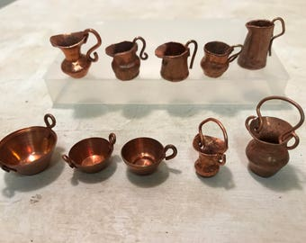 Miniature Copperware for the Dollhouse