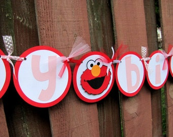 Elmo Party Banner, Elmo Birthday Party Banner, Elmo Girl Birthday Banner, Elmo Banner, Sesame Street Banner, Elmo 1st Birthday, Elmo Party