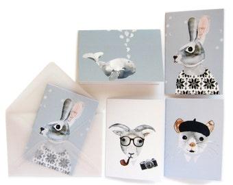 10 animals mini cards + envelopes