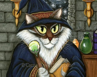 Cat Wizard Art Merlin Magician Cat Painting Magic Cat Sorcerer Cat Maine Coon Cat Fantasy Cat Art Print 5x7 Cat Lovers Art