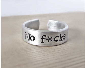 Funny Statement Jewelry, No Fucks, Thin Adjustable Ring, Snarky Gift For Him, Thin Silver Stacking Ring, Swear Words, Class of 2018, Mature