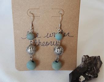 Green Blue and Silver Filigree Beaded Dangle Earrings