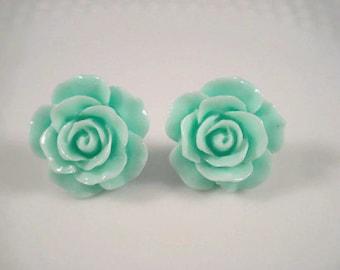Rose Earrings - Mint Green - Rose Post Earrings - Flower Jewelry - Rose Stud Earrings